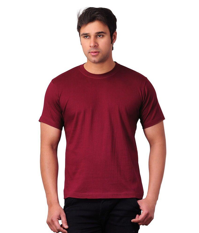 Priint Factory Maroon Cotton T Shirt