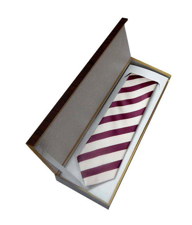 Navaksha Maroon Micro Fiber Stripes Slim Tie