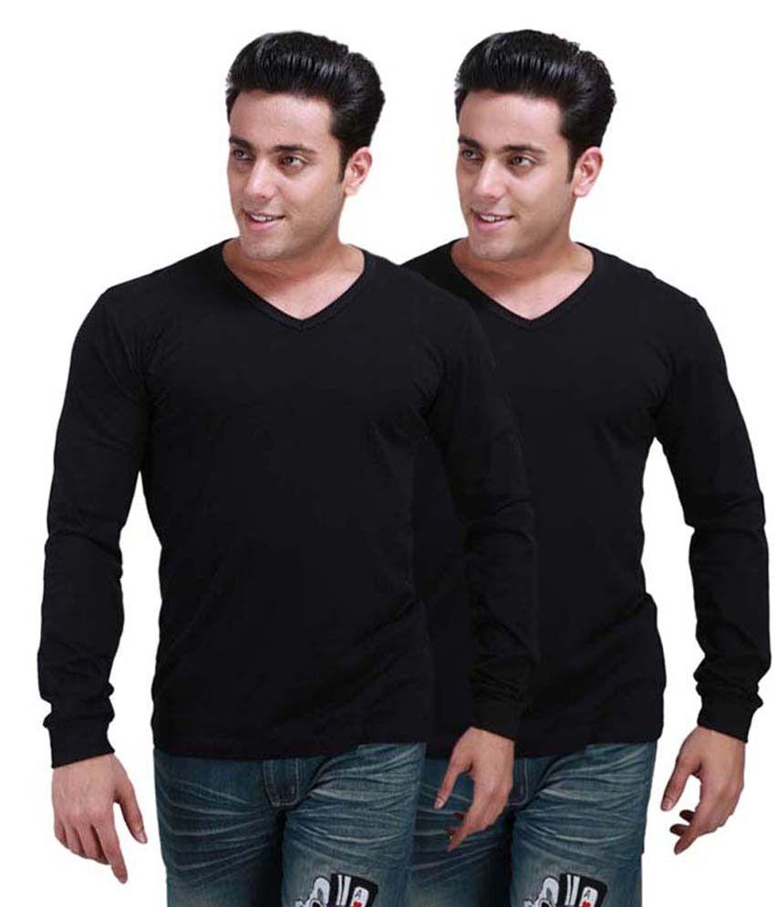 S.D. Knitwears Black Cotton T-Shirt Combo Of 2