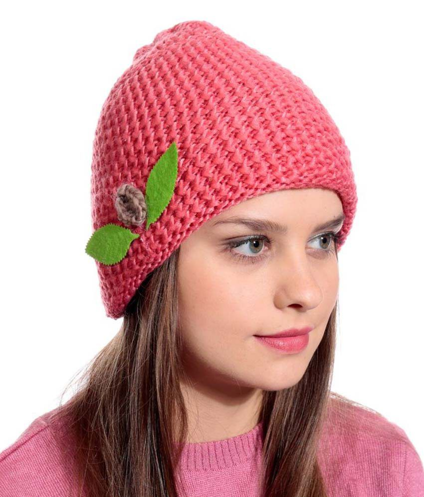 3bb2a8f92a5 90 West Pink Woollen Cap  Buy Online at Low Price in India - Snapdeal