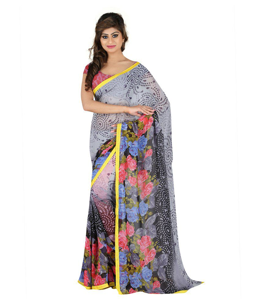 Lookslady Grey Georgette Saree