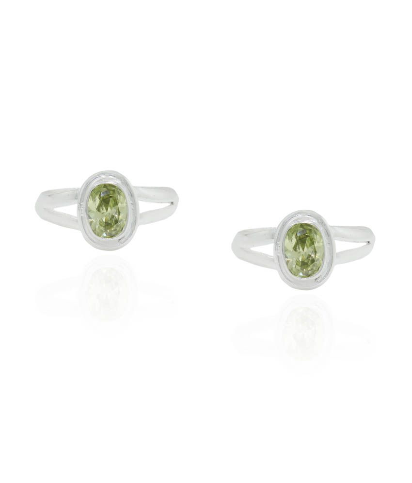Pehchan Green German Silver Toe-Rings