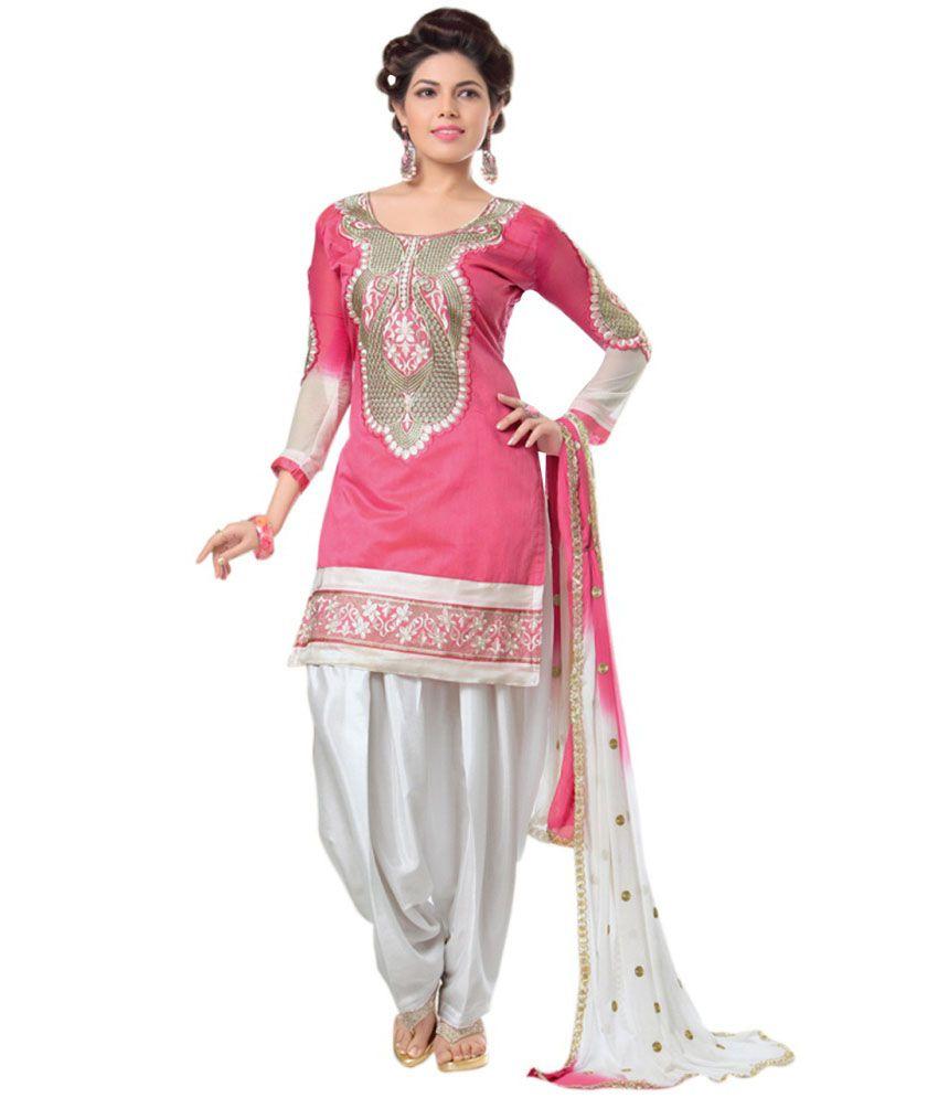 Zombom Fashion Pink Chanderi Dress Material