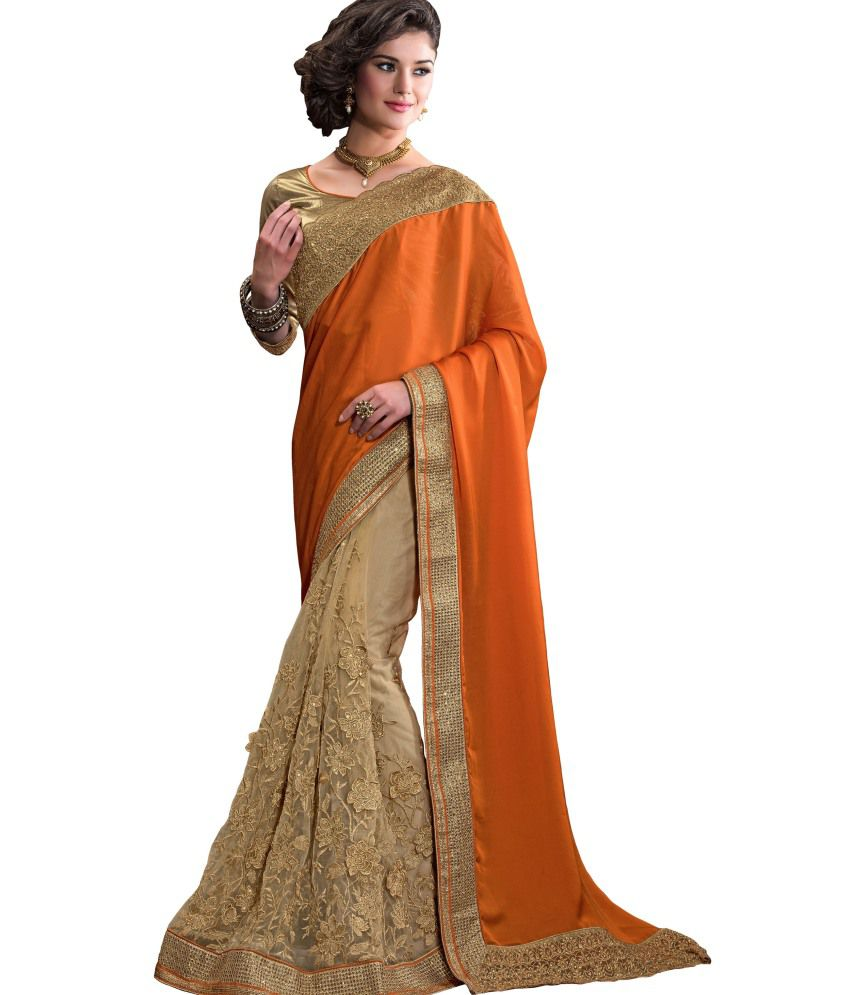 Aarnas Fashion Orange Pure Georgette Saree