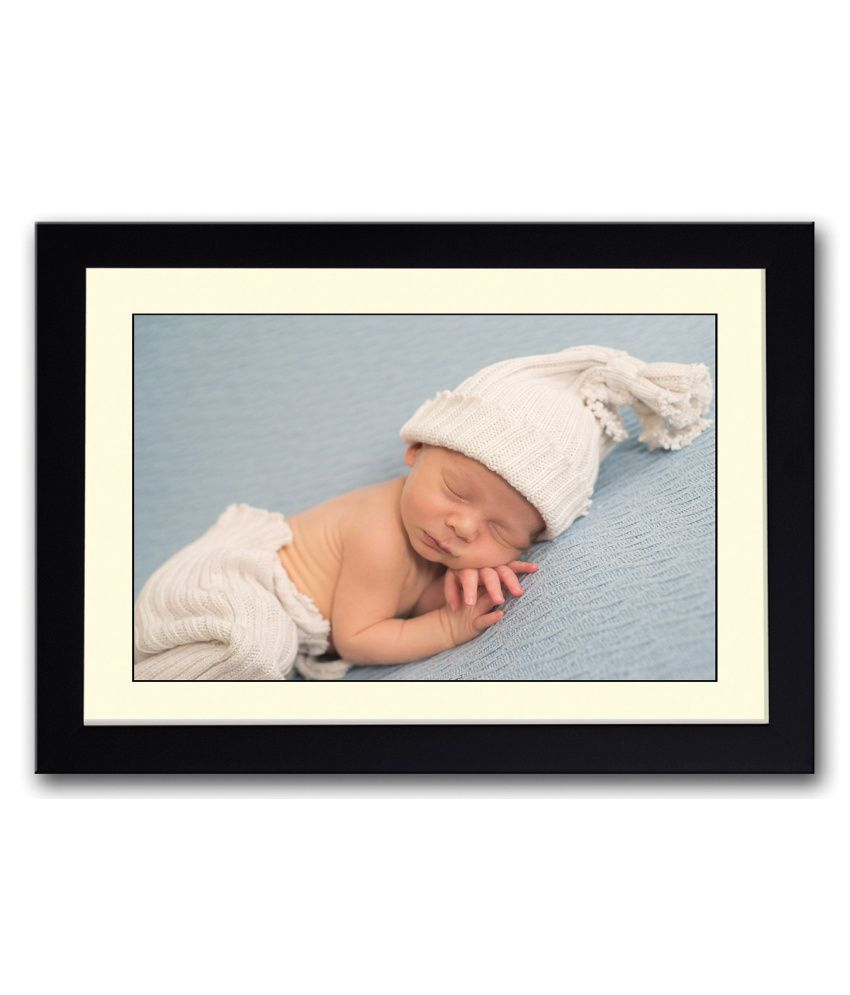 Artifa Matte Baby With Cute Cap Painting With Wood Frame