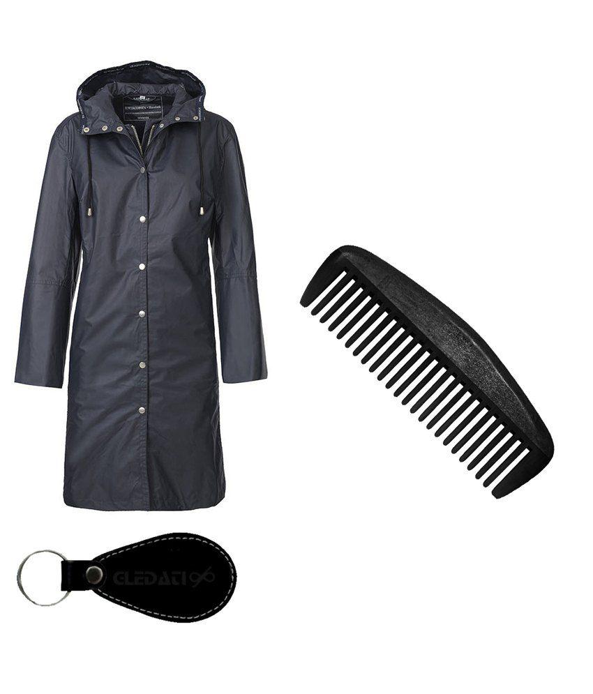 Gledati Black Polyester Combo Of Raincoat & Comb