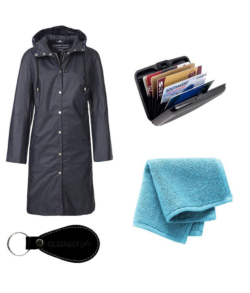 Gledati Black Polyester Combo Of Raincoat, Alumina Wallet & Towel Handkerchief