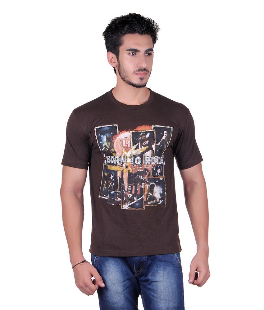 Plush Brown Cotton T-Shirt For Men