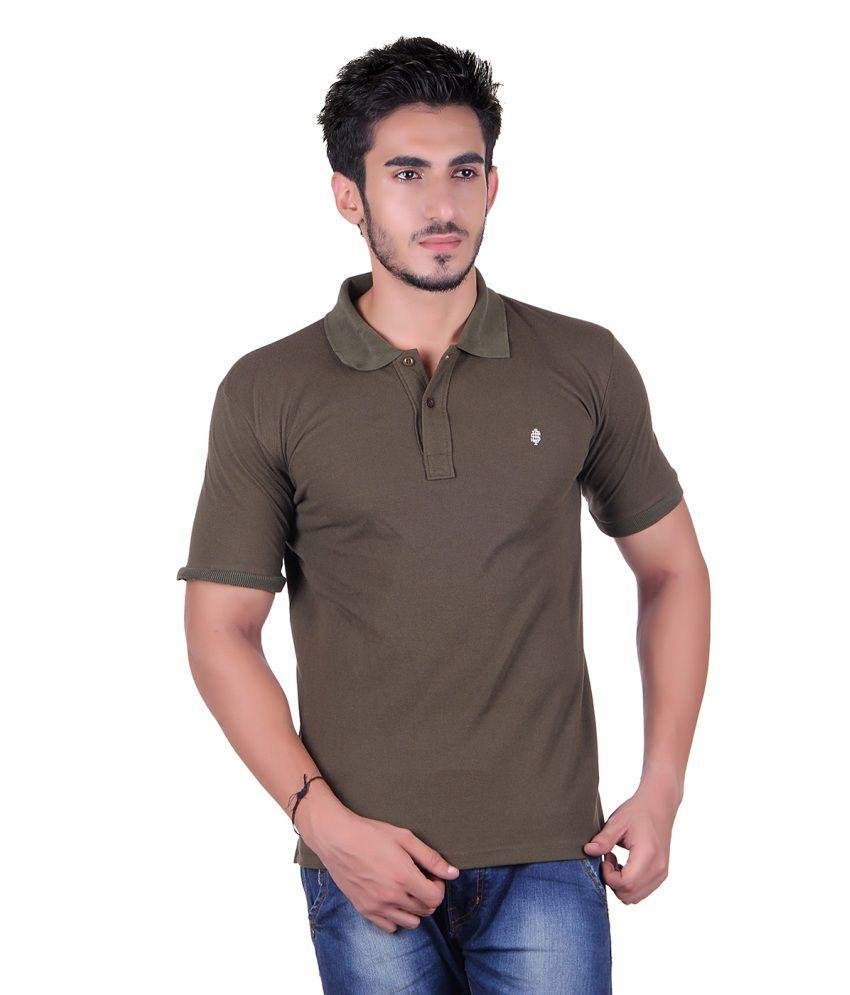 Plush green cotton polo t shirt for men buy plush green for Cotton polo shirts for men