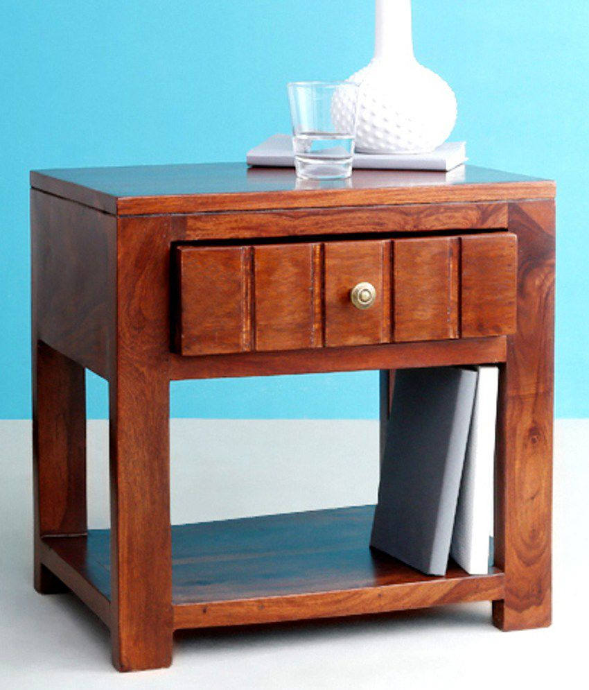 Buy 1 Wimpy Sheesham Wood Side Table with Storage - Get 1 free