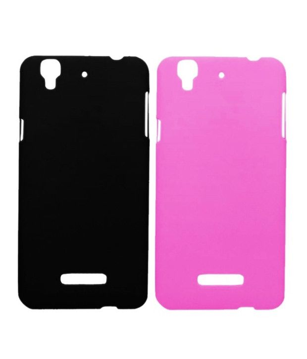 Winsome Deal Combo of Black and Pink Plastic Back Covers for Micromax Yureka (Pack of 2)