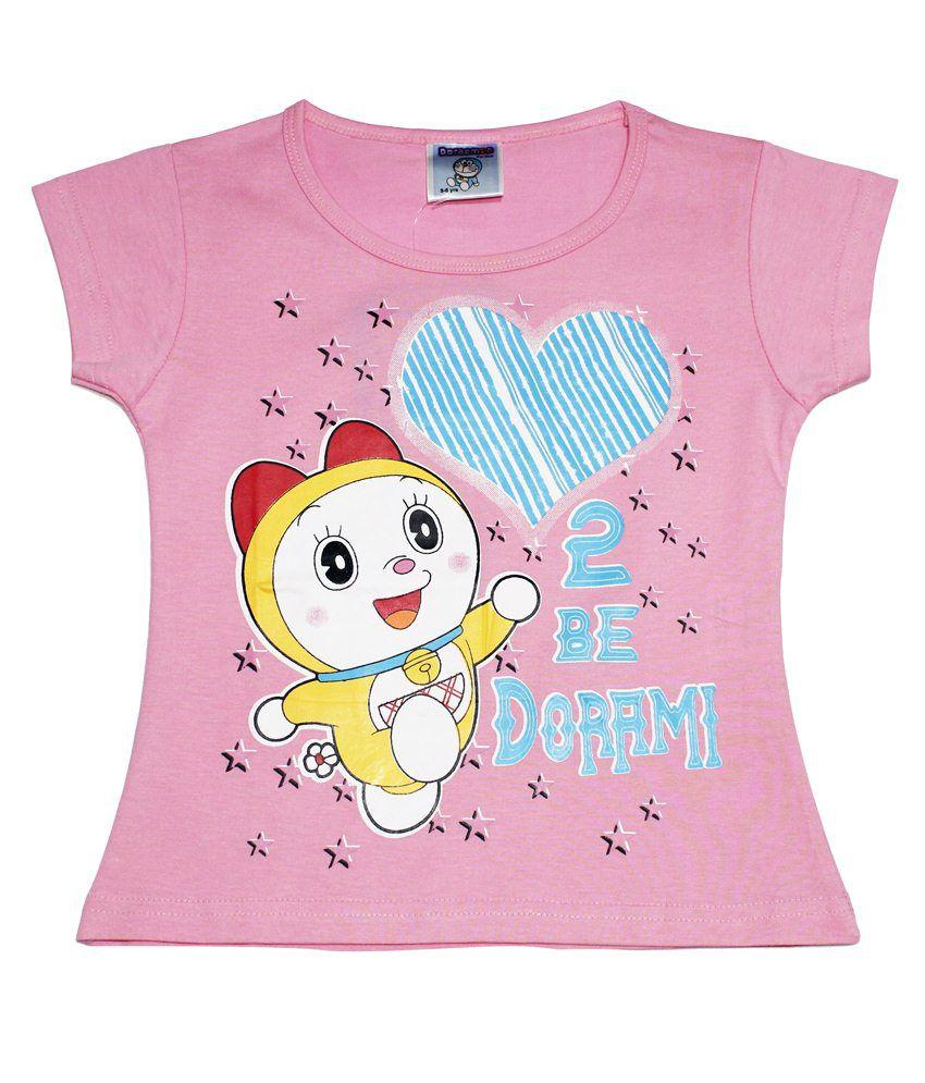 Doraemon Pink & Blue Dorami with Heart T Shirt for Girls ...