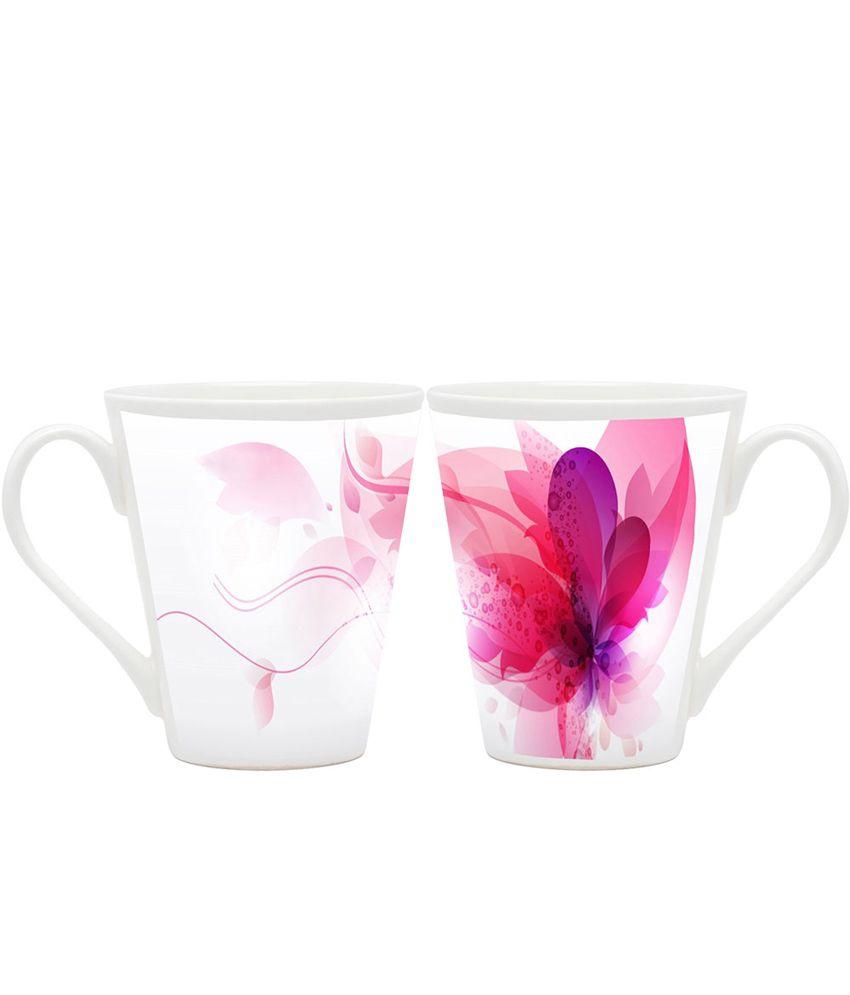 Homesogood White Ceramic Printed Coffee Mug