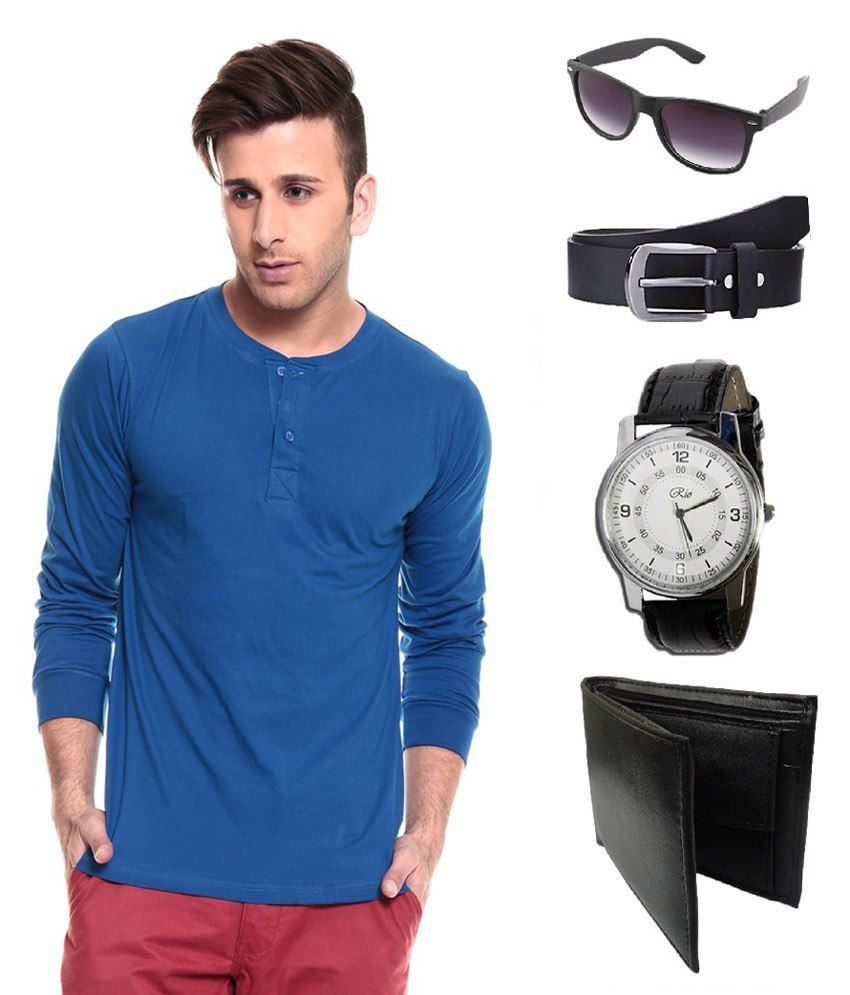 Ansh Fashion Wear Blue Cotton T Shirt With Classic Belt, Wallet, Watch & Sunglass