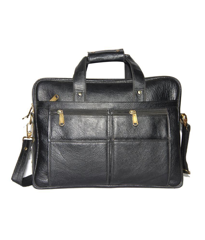C Comfort Black Leather Messenger Bag