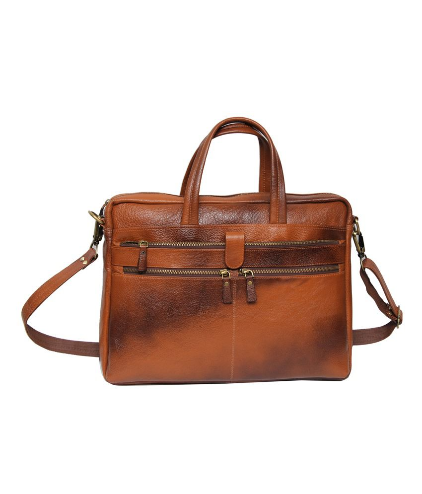 C Comfort Tan Leather Messenger Bag