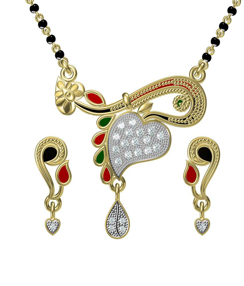 Ooh Gori Fashion Golden Alloy American Diamonds Two Tone Mangalsutra Set
