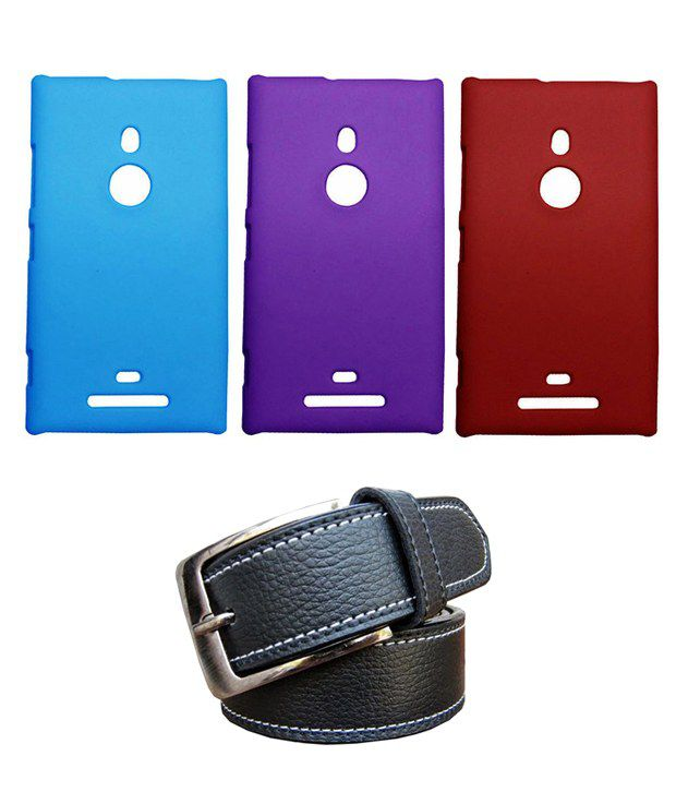 Winsome Deal Black Belt with 3 Back Cover Cases for Nokia Lumia 980