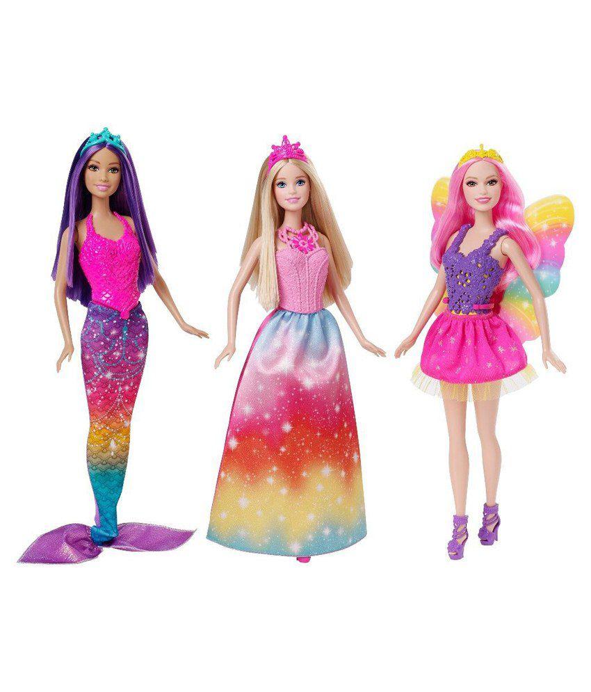 Barbie Multicolour Polymer Fairytale Fashion Doll Set Of 3 Buy Barbie Multicolour Polymer