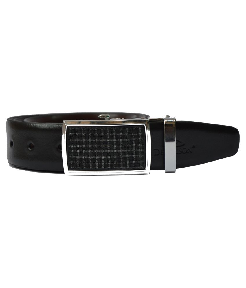 Dennison Black and Brown Reversible Leather Belt For Men