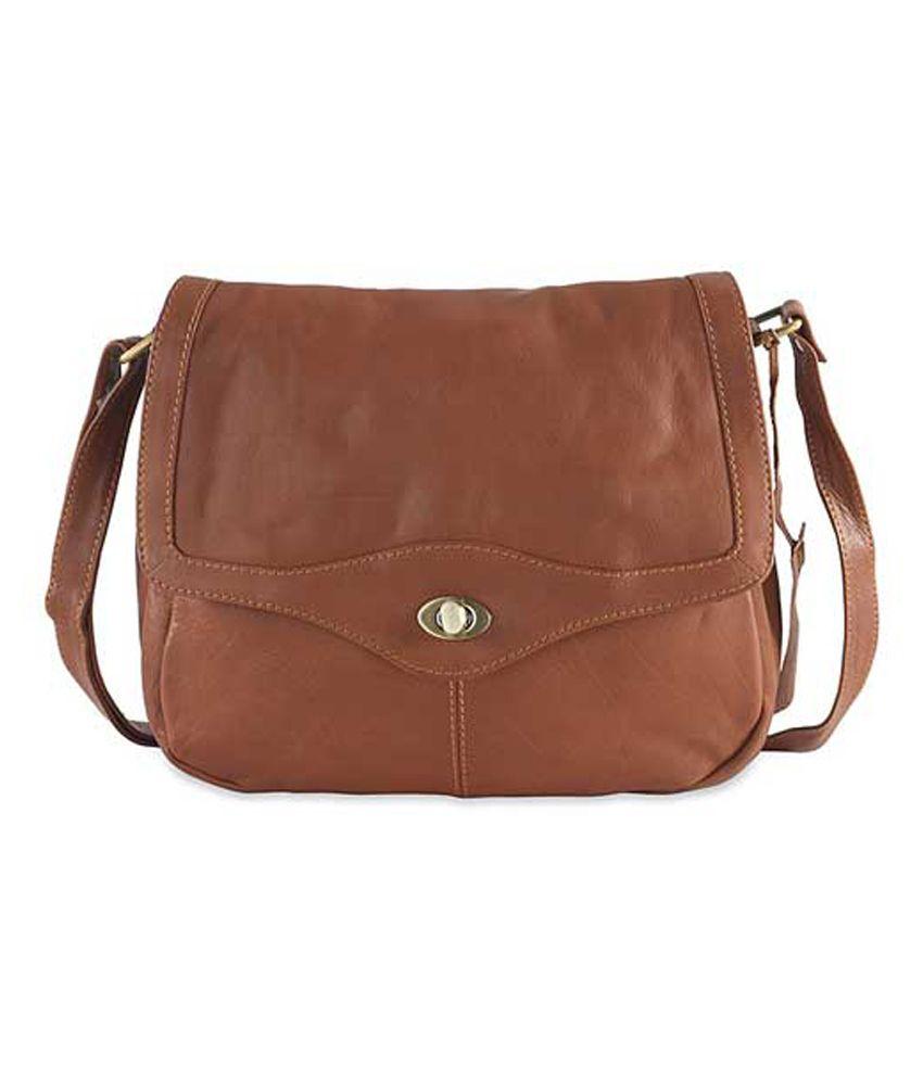 S B International Brown Leather Shoulder Bag