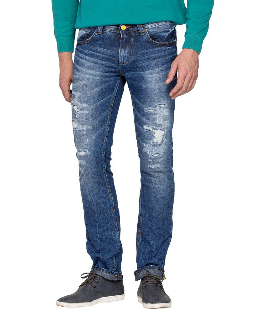 Spykar Blue Cotton Skinny Fit Jeans