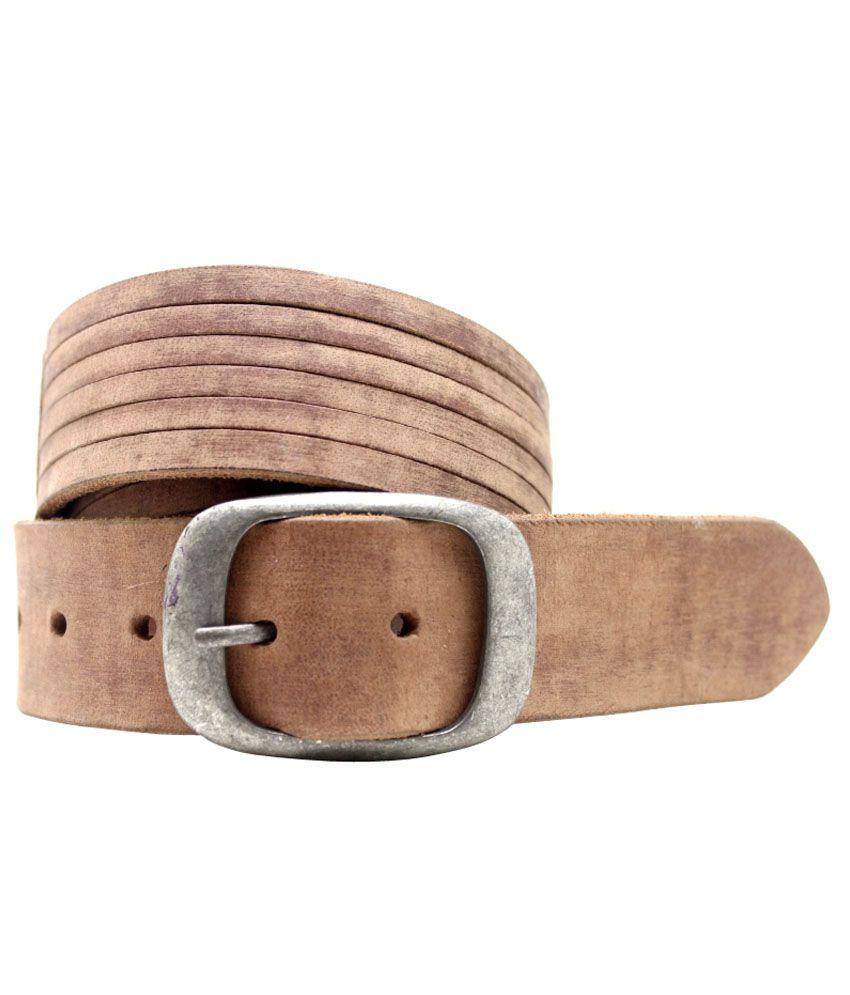 Urban Vintage Tan Leather Pin Buckle Belt For Men