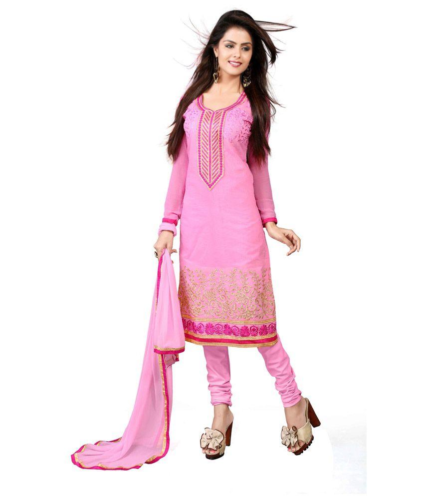 Zombom Pink Chanderi Semi Stitched Dress Material