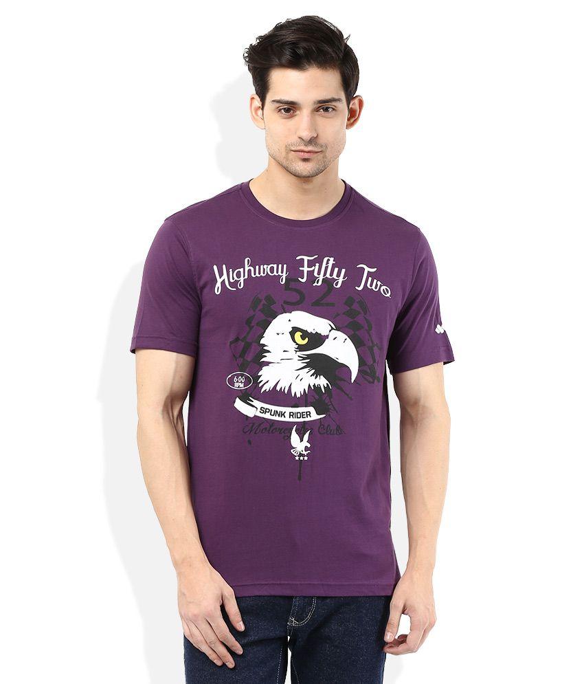 Spunk Purple Round Neck Printed T-Shirt
