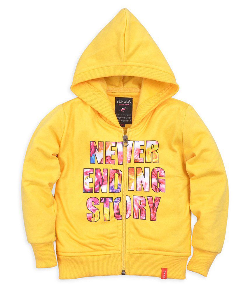 Femea Yellow Sweatshirts For Girls