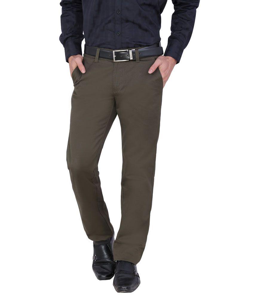 Louppee Green Regular Fit Formal Flat Trousers