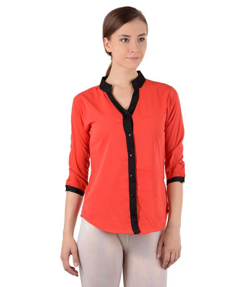 Rabta Red Poly Crepe Shirts