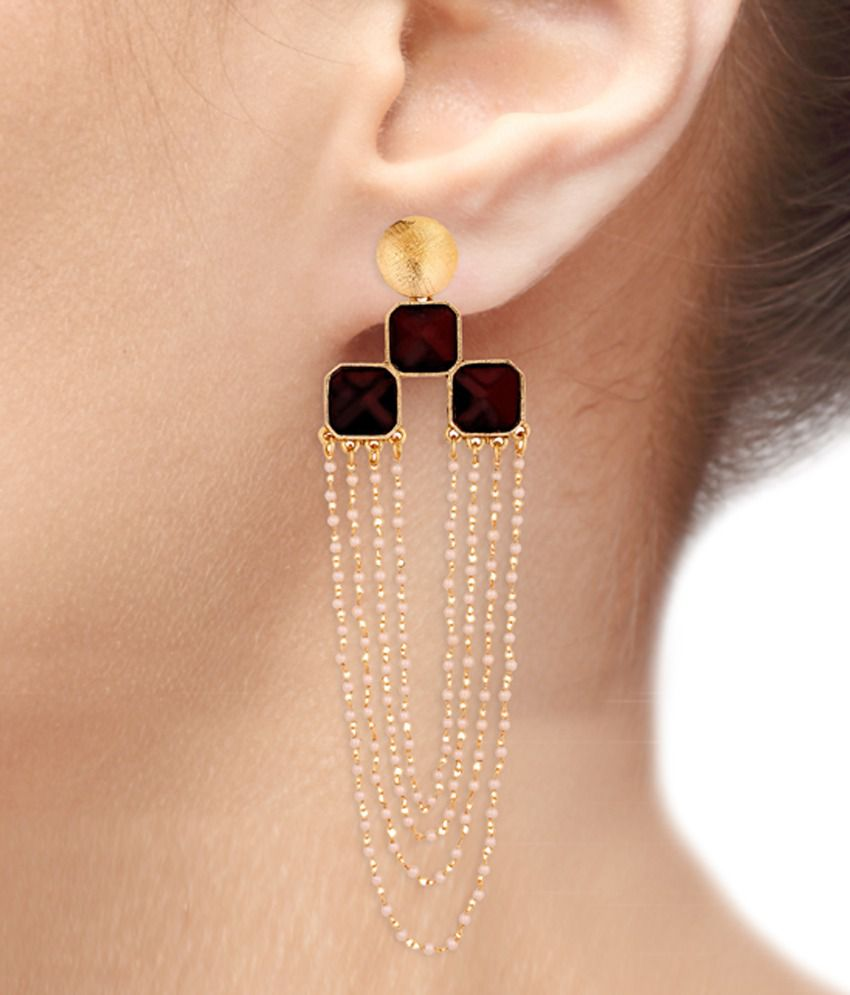 Thejewelbox Black Pearl Hanging Earrings