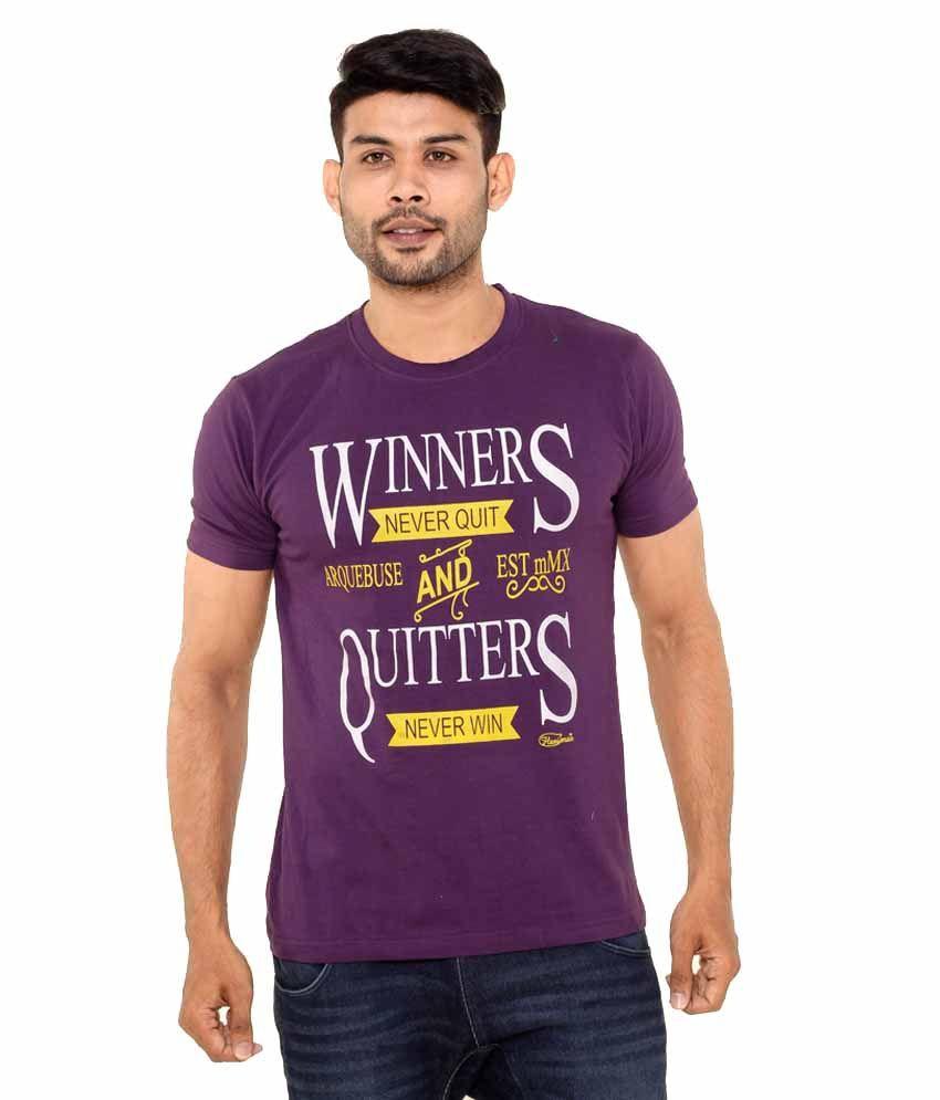 Fleximaa Purple Cotton Round Neck T- Shirt