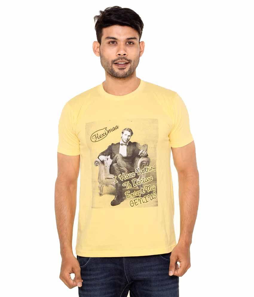 Fleximaa Yellow Cotton Round Neck T- Shirt