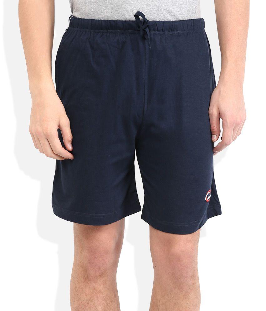 Chromozome Navy Blue Solid Shorts