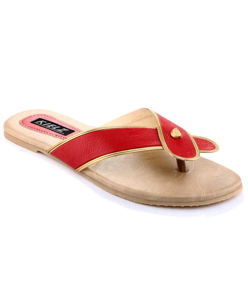 Kielz Red & Beige Daily Wear Flats