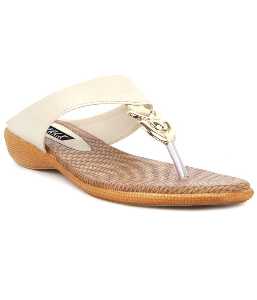 Kielz White & Beige Daily Wear Flats