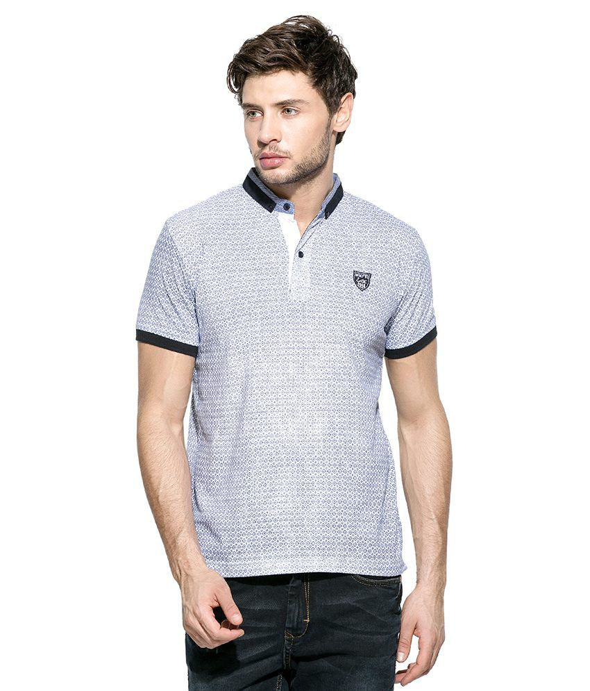 Mufti White Printed Polo T Shirt