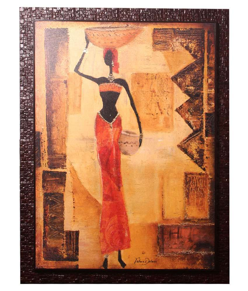 Srikara Frames Beige & Red Acrylic Canvas Lady With Pot Painting