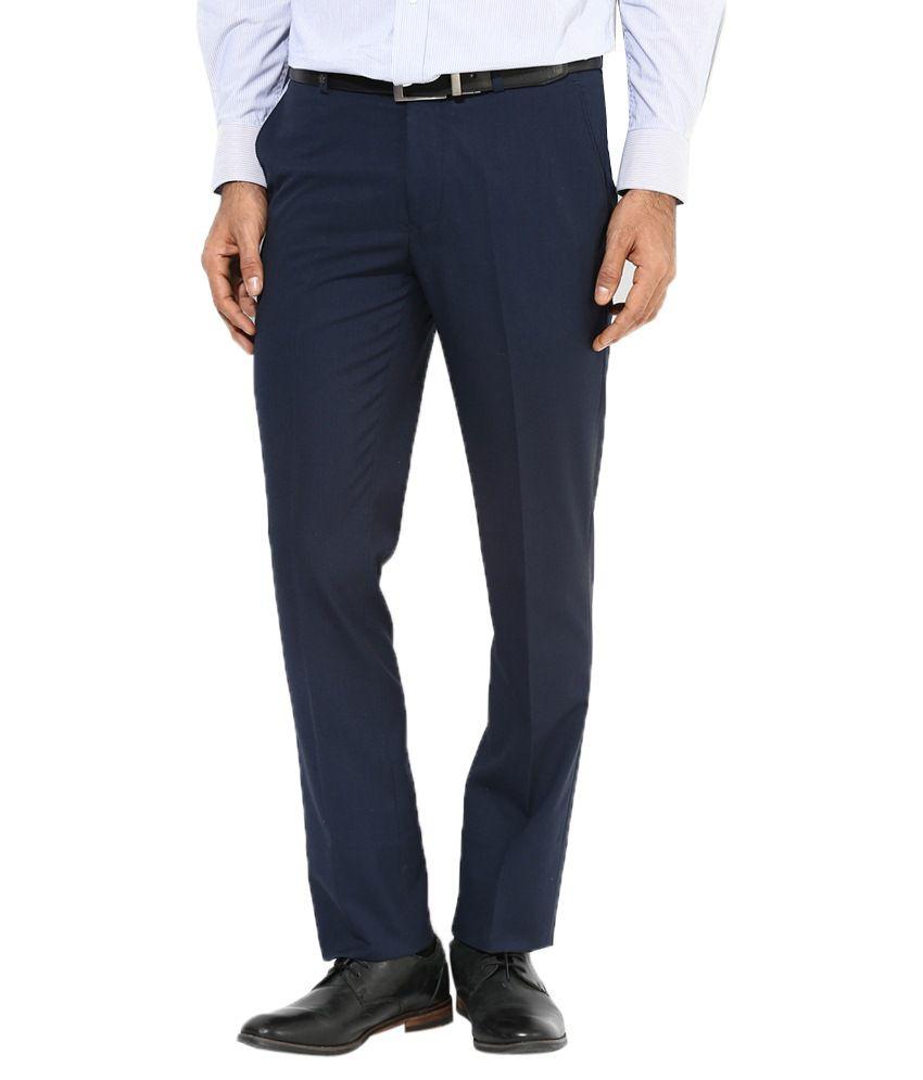 AD & AV Navy Regular Fit Formal Flat Trousers
