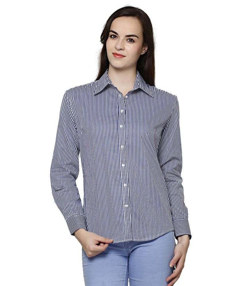 Bhama Couture Blue Cotton Shirts