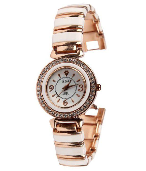 K & Q Paris White and Golden Analog Watch