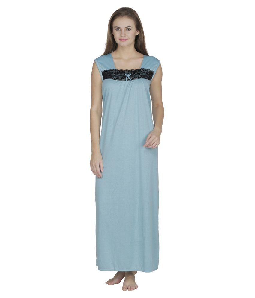 Buy Klamotten Turquoise Cotton Nighty Online at Best ...