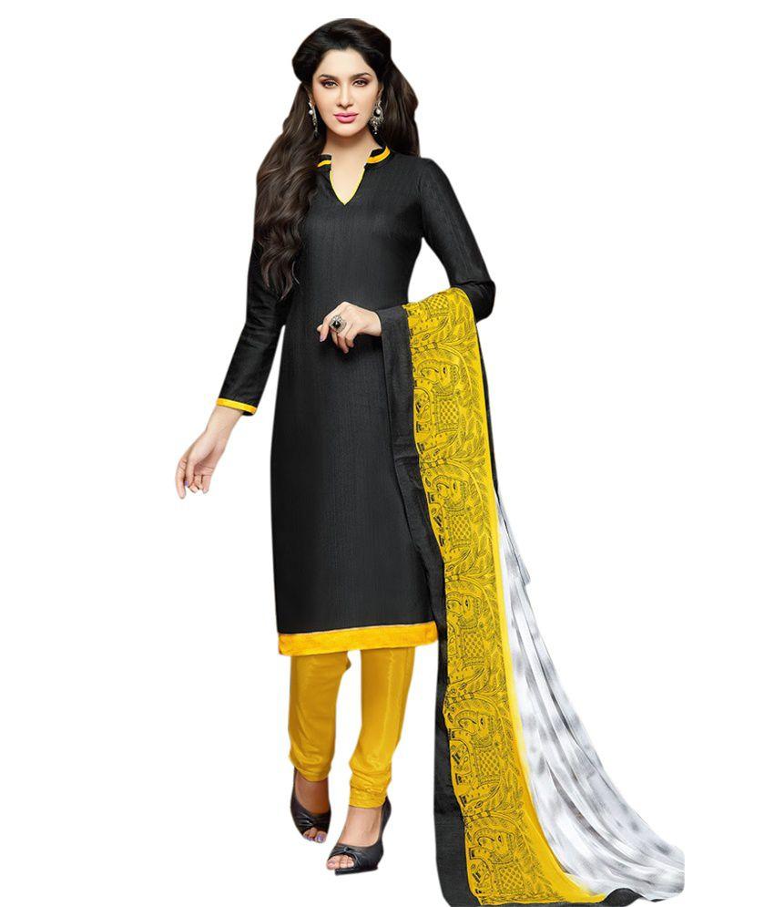 Krizel Black Chanderi Unstitched Dress Material
