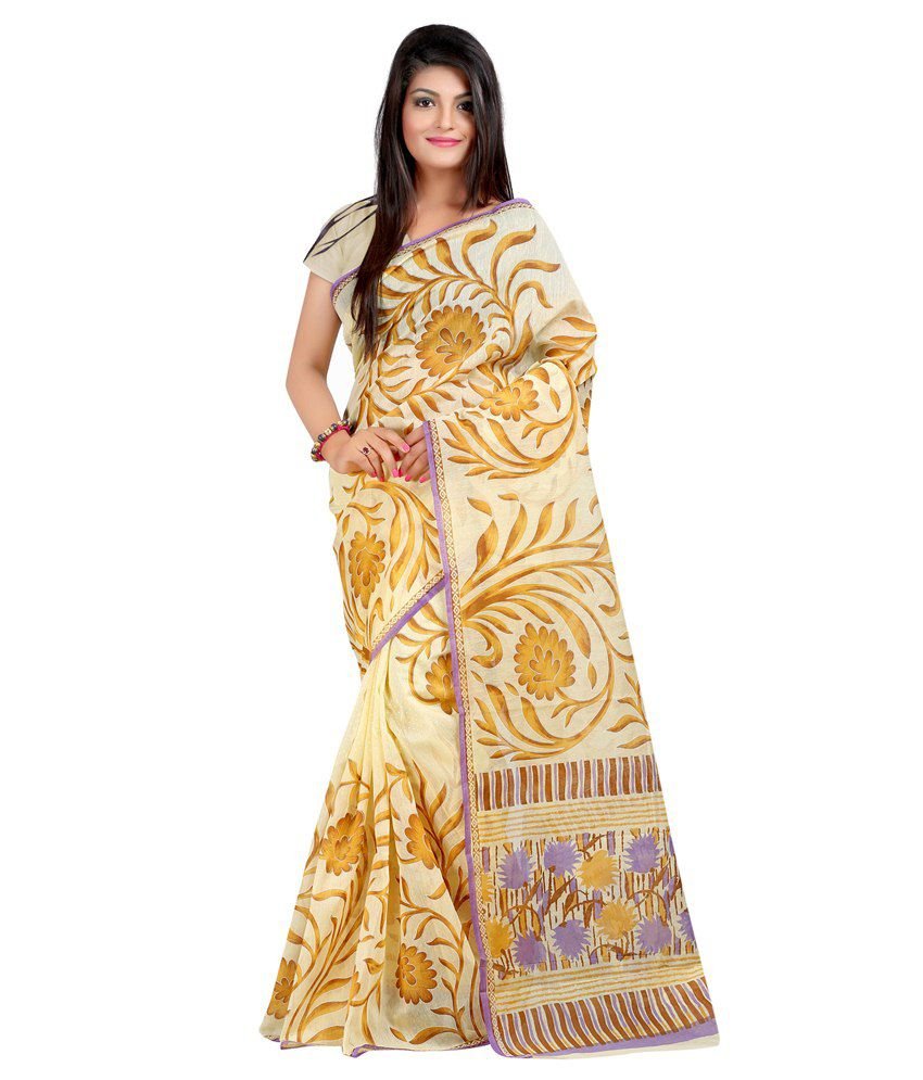 Lookslady Beige Cotton Saree