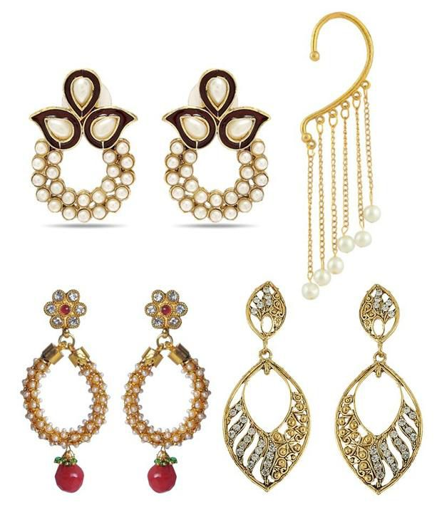 Luxor Golden Alloy Charming Earrings - Combo
