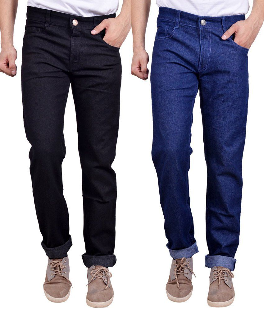 Masterly Weft Multi-Colour Trendy Regular Fit Pack Of 2 Jeans
