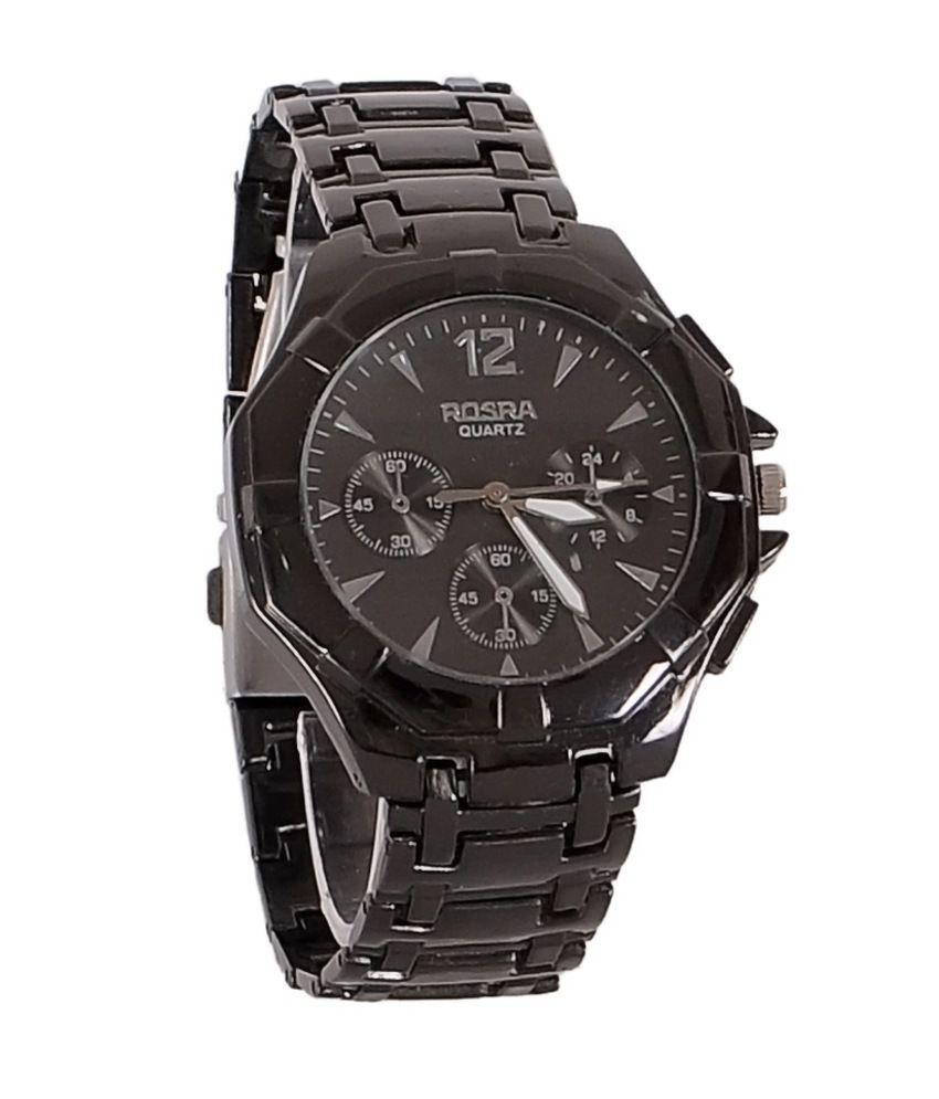 Rosra black metal analog watch buy rosra black metal analog watch online at best prices in for Rosra watches