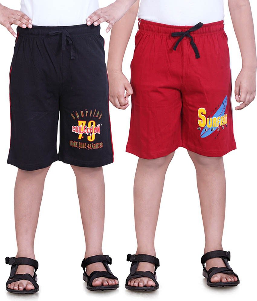 Dongli Red & Black Cotton Shorts Pack Of 2